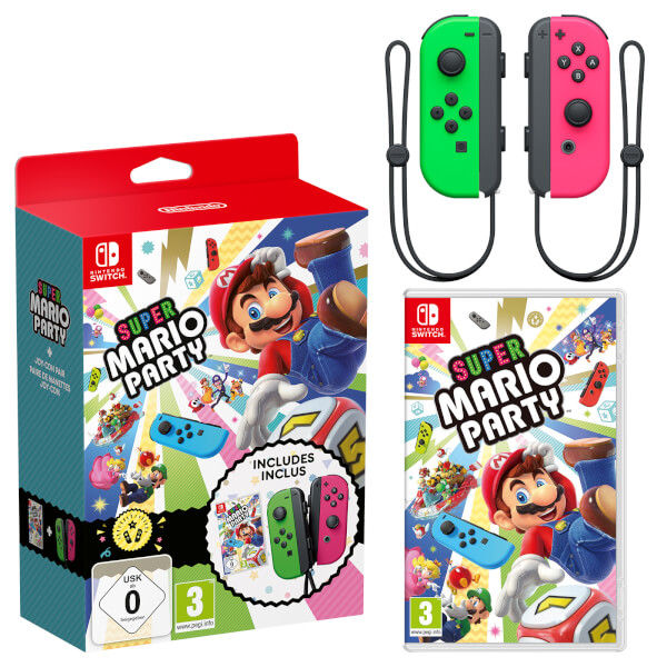 Super Mario Party + Neon Green / Neon Pink Joy-Con Controller Bundle