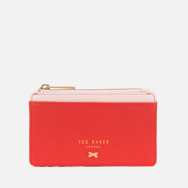 6b21edd613b208 Ted Baker Women s Lori Textured Zipped Credit Card Holder - Red  Image 1