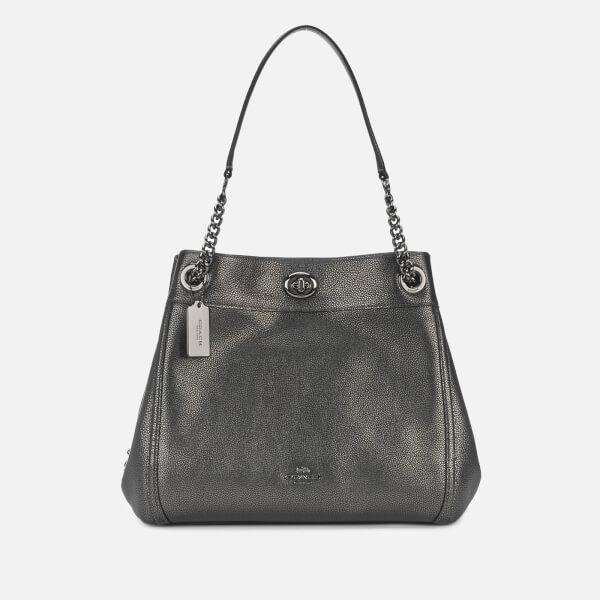 Coach Women's Metallic Leather Turnlock Edie Shoulder Bag - Metallic Graphite