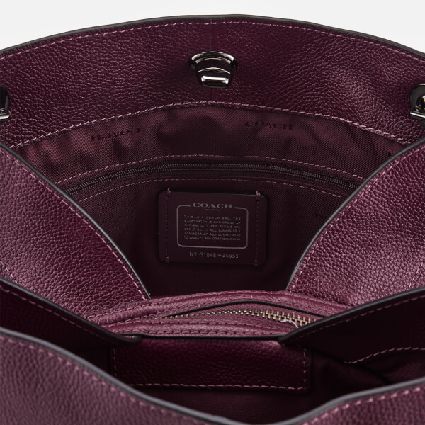 Coach Women s Polished Pebble Leather Turnlock Edie Shoulder Bag - Dark  Berry  Image 5 1b7fbd9e111ad