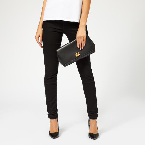 be6b5778d642 Coach Women s Alexa Smooth Leather Evening Clutch Bag - Black  Image 3