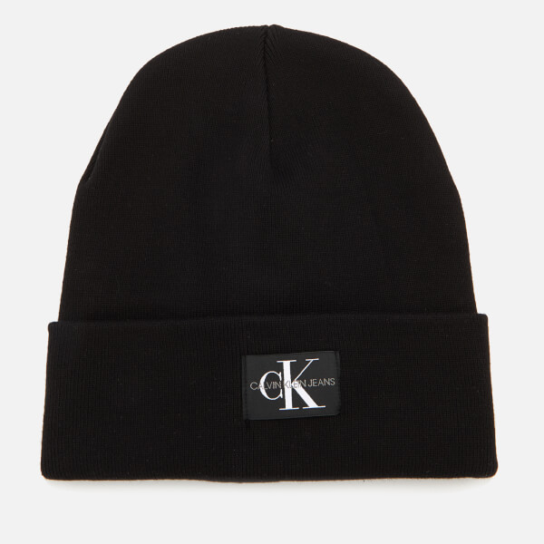 Calvin Klein Women's J Monogram Beanie Hat - Black