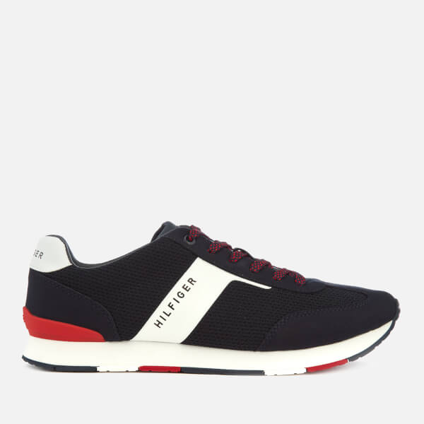 339e8327c00428 Tommy Hilfiger Men s Knitted Material Mix Runner Trainers - Midnight  Image  1