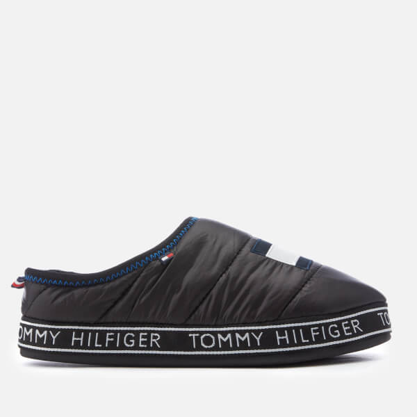 232e5ebd958f Tommy Hilfiger Men s Flag Patch Down Slippers - Black  Image 1