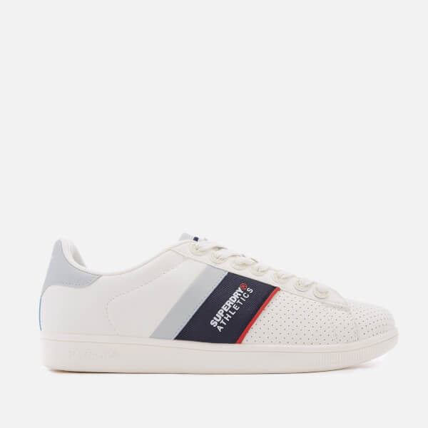 Superdry Men's Sleek Tennis Trainers - Optic White/Dark Navy/Red