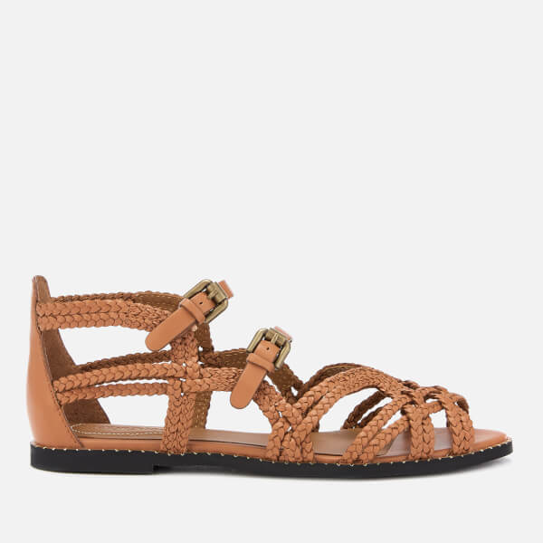 0cb9ceac3a3eb1 See By Chloé Women s Katie Braided Leather Flat Sandals - Sierra  Image 1