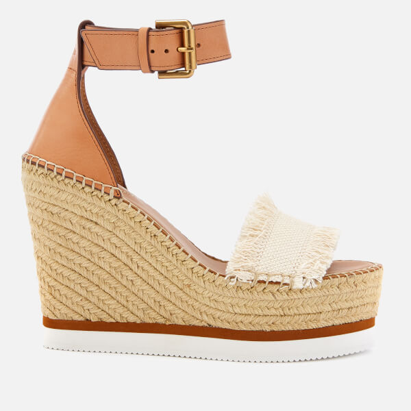 See By Chloé Women's Glyn Canvas Espadrille Wedge Sandals - Natural