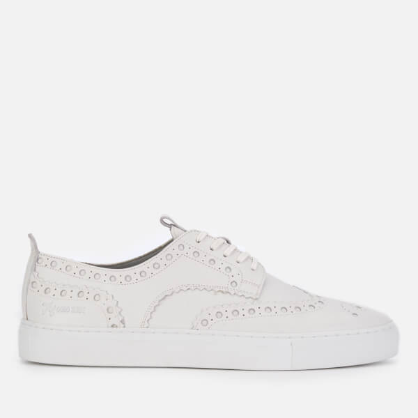 Grenson Men's Sneaker 3 Leather Brogue Trainers - White