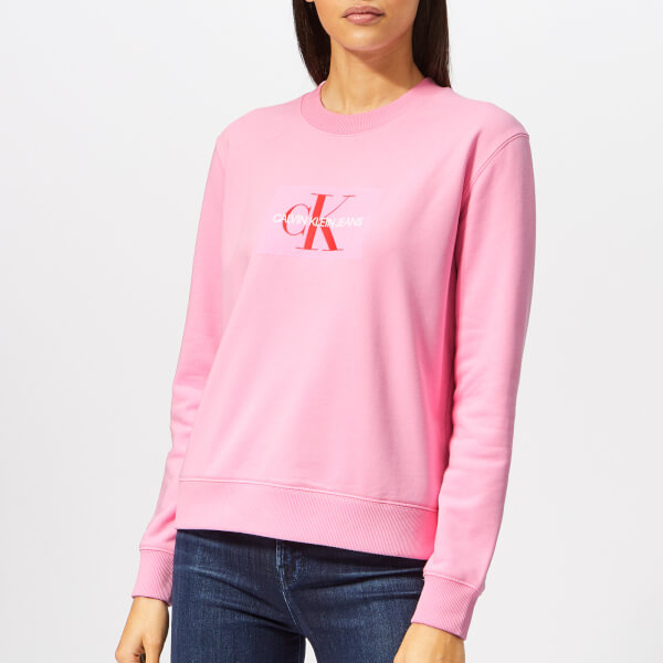 Women's Klein Jeans Sweatshirt Logo Monogram Calvin Pink Begonia E7qzaz