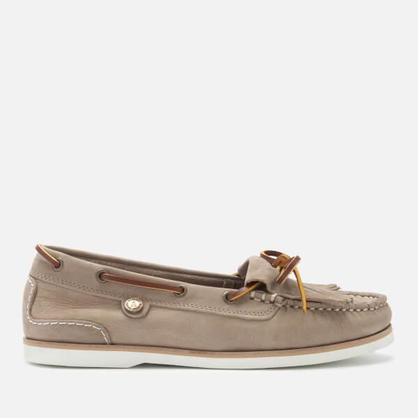 Barbour Women's Ellen Suede Moccasin Boat Shoes - Stone