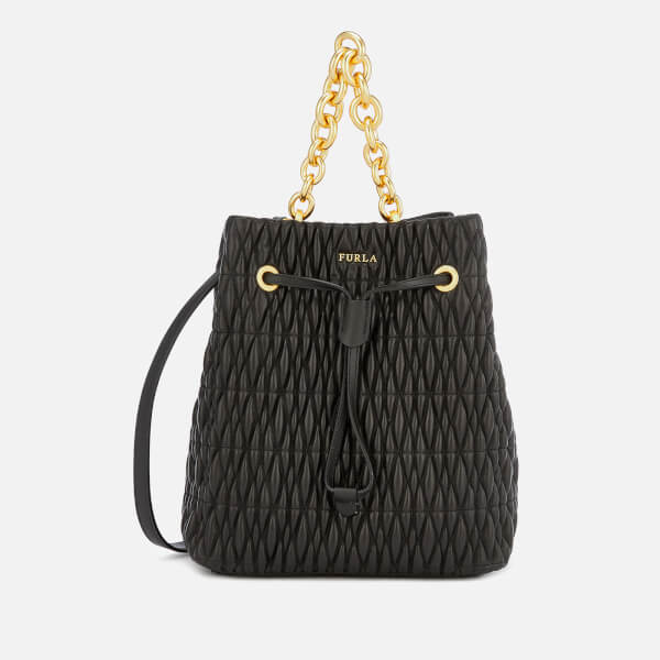 Furla Women's Stacy Cometa Small Drawstring   Black by My Bag