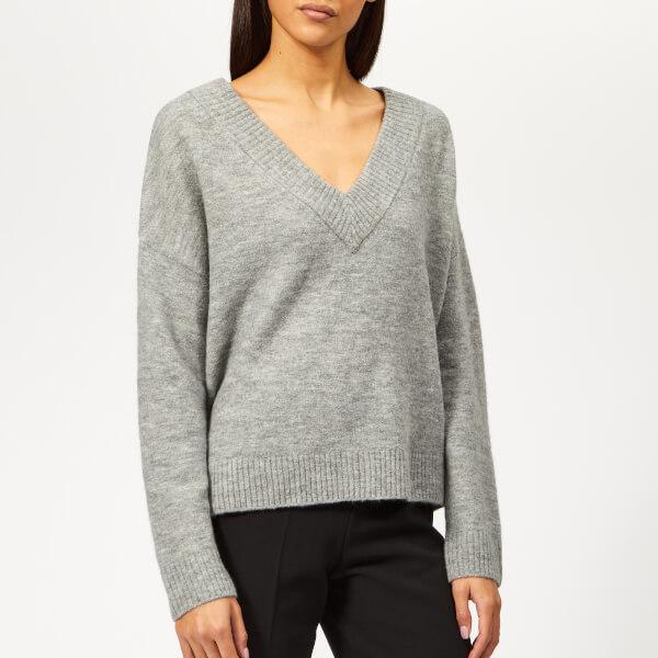Whistles Women's Oversized Slouchy V Neck Knit Jumper - Grey Marl