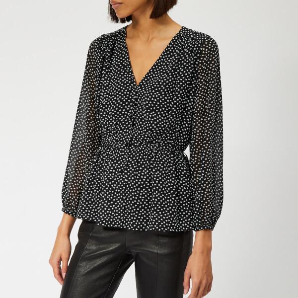 Whistles Women's Confetti Heart Print Tie Detail Top - Black/White