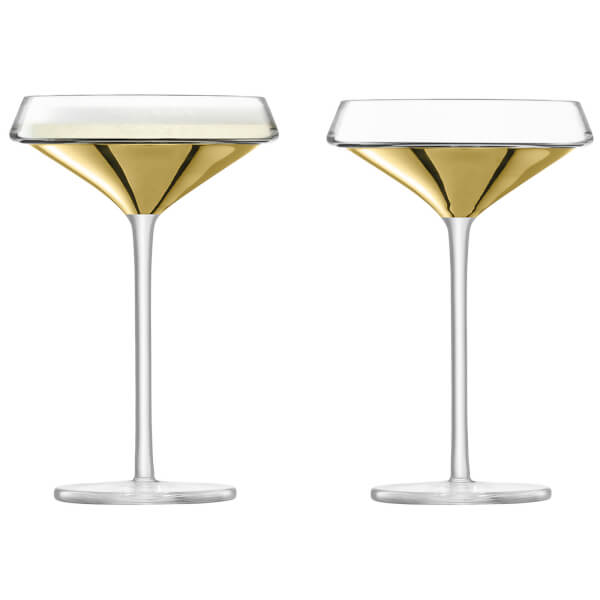 LSA Space Champagne & Cocktail Glasses - Gold (Set of 2)