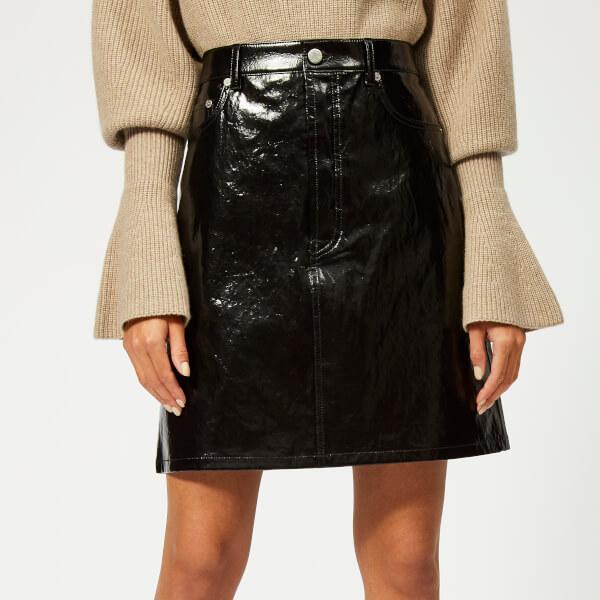 Helmut Lang Women's Patent Leather Five Pocket Skirt - Black
