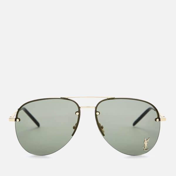 Saint Laurent Metal Aviator Style Sunglasses - Gold