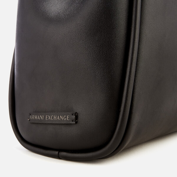 291626d71347 Armani Exchange Women s Medium Shopper Tote Bag with Logo Flap - Black   Image 4