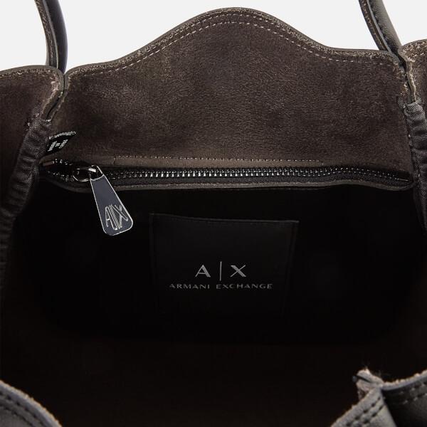 4f57891ed485 Armani Exchange Women s Medium Shopper Tote Bag with Logo Flap - Black   Image 5. Armani Exchange Women s Bags ...