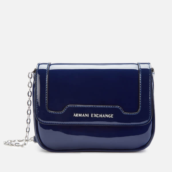 Armani Exchange Women's Patent Small Cross Body Bag - Navy