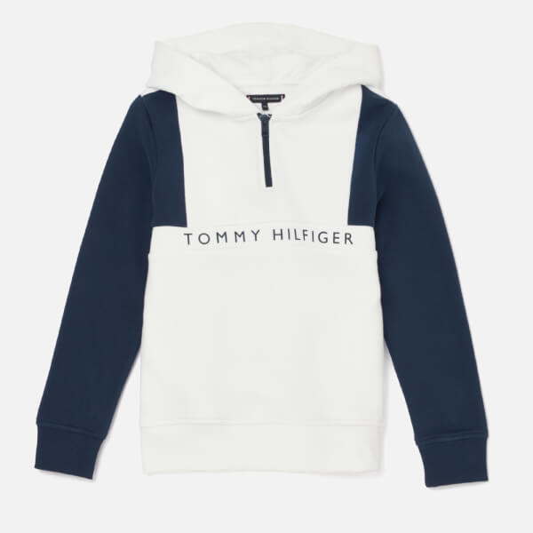 Tommy Hilfiger Boys' Colorblock Hoodie - Bright White/Black Iris