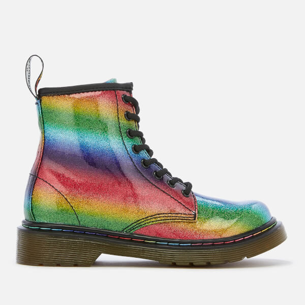 Dr. Martens Kid's 1460 Ombre Glitter Patent 8-Eye Boots - Rainbow