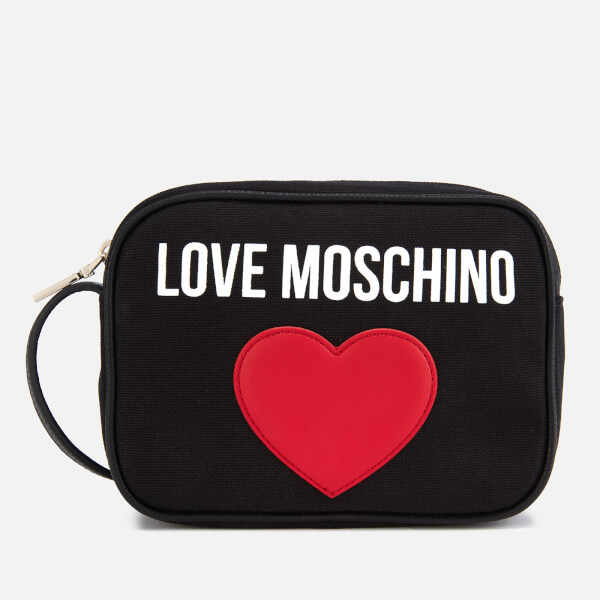 Love Moschino Women's Canvas Heart Logo Cross Body Bag - Black