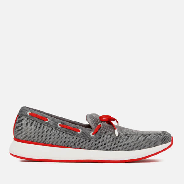 Swims Men's Breeze Wave Lace-up Loafers - Grey/Red Alert
