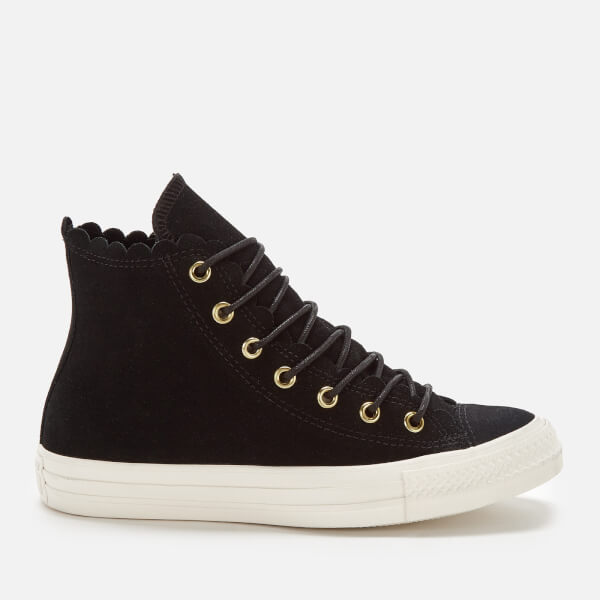 cf2c9e75605d76 Converse Women s Chuck Taylor All Star Scalloped Edge Hi-Top Trainers -  Black Gold