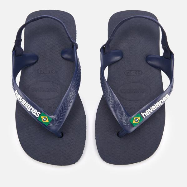 Havaianas Toddler's Brasil Logo Sandals - Navy Blue/Citric Yellow