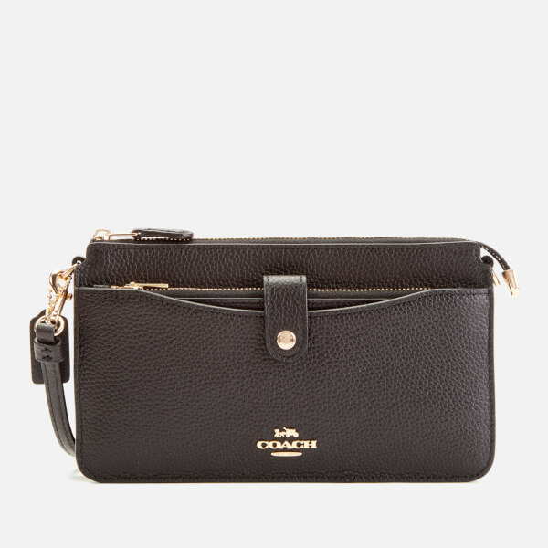81d5e2262 Coach Women's Polished Pebble Leather Wallet/Cross Body Bag - Black: Image 1