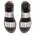 Folk Women's Lore Ruffle Detail Two Part Leather Sandals - Silver: Image 2