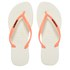 Havaianas Women's Slim Logo Flip Flops - White/Coral: Image 1