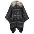ONLY Women's Kiva Faux Fur Poncho - Dark Grey Melange: Image 1
