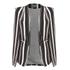Lavish Alice Women's Stripe Collarless Cape Blazer - Black/Cream/Burgundy: Image 1