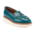 Grenson Women's Juno Leather Frill Loafers - Teal Rub Off: Image 5