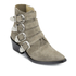 Toga Pulla Women's Buckle Side Suede Heeled Ankle Boots - Khaki Suede: Image 2