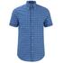 GANT Men's Dogleg Poplin Check Short Sleeve Shirt - Sage Blue: Image 1