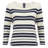 Maison Scotch Women's Breton Stripe 3/4 Sleeve T-Shirt with Zipper at Back - Multi: Image 1
