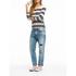 Maison Scotch Women's Breton Stripe 3/4 Sleeve T-Shirt with Zipper at Back - Multi: Image 2