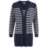 Cocoa Cashmere Women's Striped Cardigan - Navy/White: Image 1