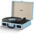 Akai Rechargeable Portable Briefcase Turntable with Built-In Speaker - Blue
