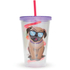 Pug Straw Cup - Multi (16oz): Image 1