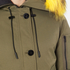 KENZO Women's Removable Yellow Fur Lined Short Parka - Dark Khaki: Image 5
