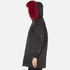 KENZO Women's Removable Red Fur Lined Long Parka - Black: Image 7