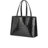 Aspinal of London Women's Regent Croc Tote - Black Croc: Image 3