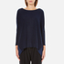 Paisie Women's Relaxed Fit Top with Chiffon Side Panel - Navy: Image 1