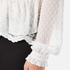 Perseverance Women's Victoriana Dobby Chiffon Blouse with Lace Cami Lining - Off White: Image 6