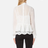 Perseverance Women's Victoriana Dobby Chiffon Blouse with Lace Cami Lining - Off White: Image 3
