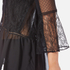 Perseverance Women's Lace Top with Crop Flare Sleeve and Dobby Mesh Inserts - Black: Image 6