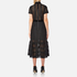 Perseverance Women's Cable Lace Midi Dress with High Neck and Ribbon Details - Black: Image 3